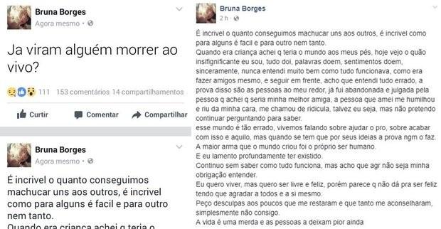 ( Reprodução : Bruna Andressa Borges) - Bruna Andressa Borges - Vídeo de suicídio ao vivo de Bruna Andressa Borges no Instagram choca internet